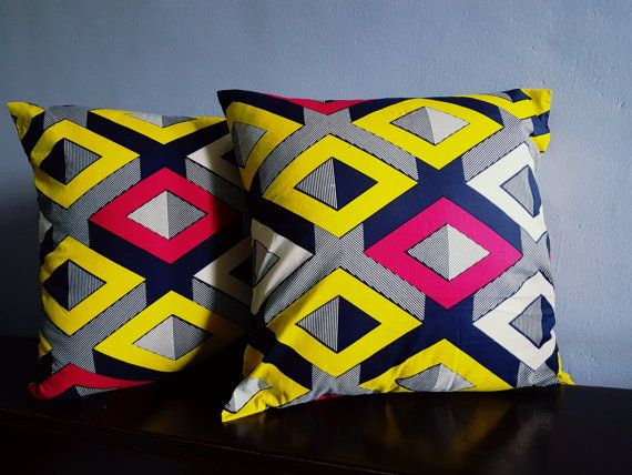 Ankara Pillow Covers/ pillow covers / wax print/ by AdinkraExpo