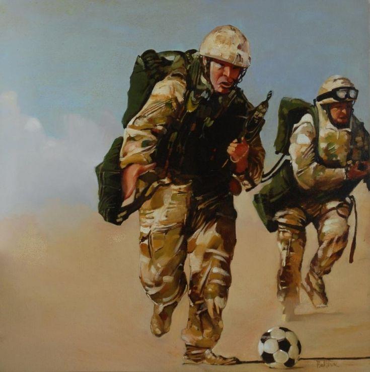 """TABLEAU PEINTURE militaires football G.I. guerre - """"La terrible épreuve de le mort subite"""""""