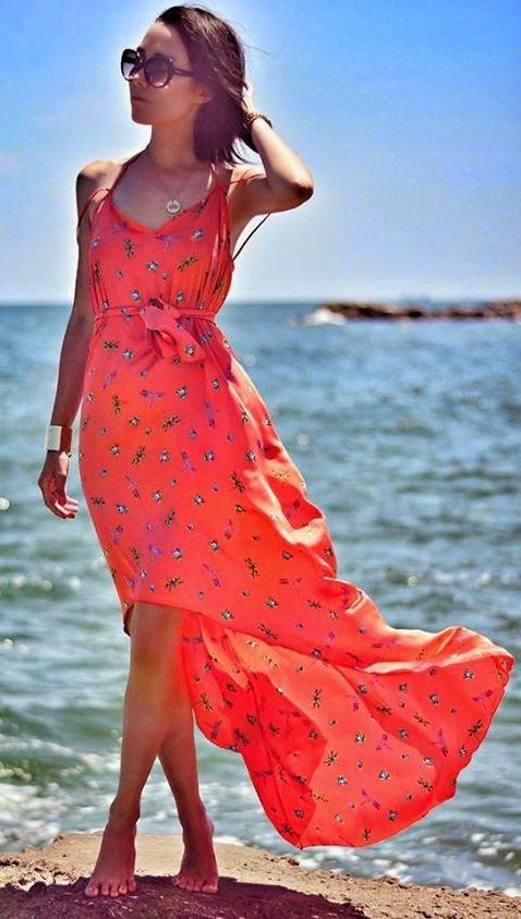 Diva Charms Red Crop Front Patterned Tank Maxi Dress by J'adore Fashion