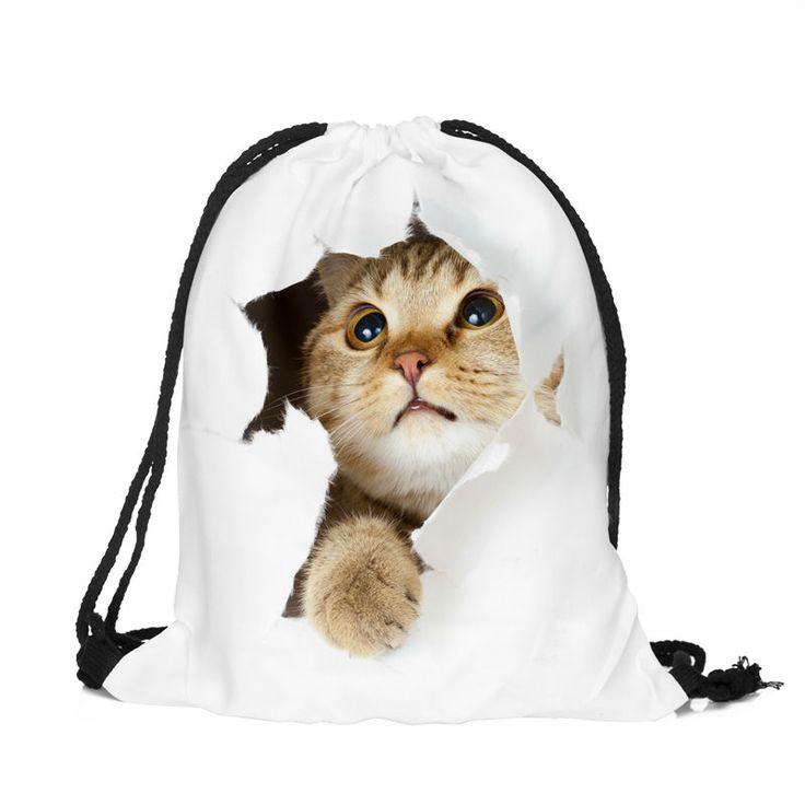 Cat escape 3D print drawstring bag //Price: $2.00 & FREE Shipping //     #hashtag2