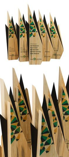 These unique awards were handcrafted for our client at the Vail Centre in beautiful Colorado, USA. Made from recovered Pine Beetle Wood (Blue Pine, Beetle Kill Pine, Denim Pine) and anodised aluminium, these eco awards were designed to reflected the clients branding.
