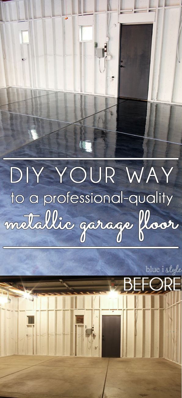 DIY metallic garage floor finish - gorgeous, functional, and more durable than paint or epoxy. Get all the how to details and a photo tutorial. Rust-Oleum RockSolid Metallic Floor Coating #sponsored