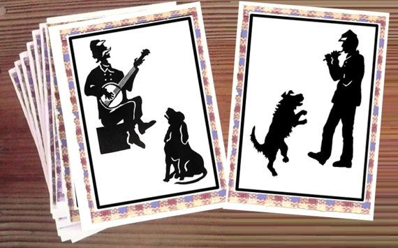 "A hound dog's song and a shaggy dog's dance add to some lively Civil War scenes in camp - Handmade set of 8 ""Camp Musicians"" Blank Note Cards by LoyaltyOfDogs"