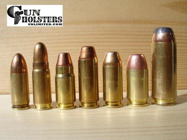 Bullet Caliber Comparison Chart:  (1) 9mm  (2) 7.62 Tokarev  (3) .357 SIG  (4) 10 mm  (5) .40 S  (6) .45 GAP  (7) .50 AE