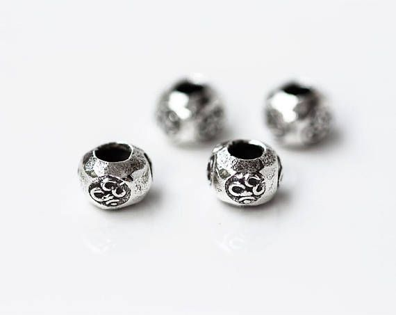 2600_ Antique silver Ohm beads 7x5 mm Karen hill tribe silver Yoga rondelle beads Buddhist beads Om mala beads Roundel bead Aum symbol _2pcs