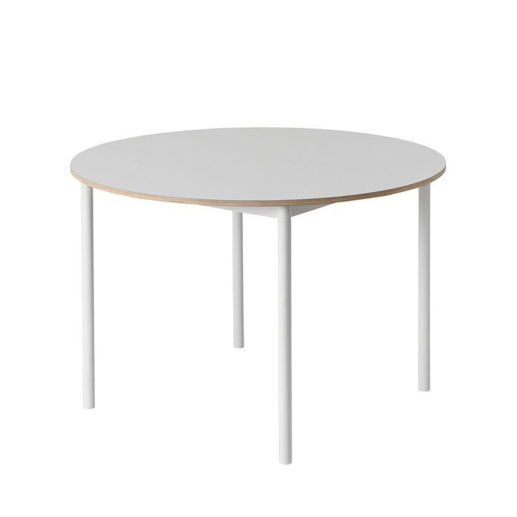 Muuto - Base Table Ø 110 cm in Weiß mit Sperrholzkante