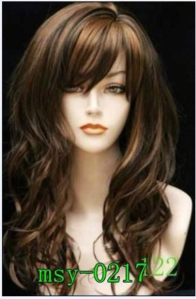 Charm dark brown medium long wavy cosplay girl full wig/wigs lady best gift M072
