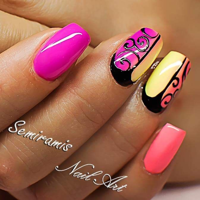 Summer nails, neon pink, orange, yellow, black