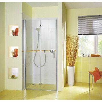 Porte de douche pivo-pliante Entra, 80 cm, verre sécurit 6 mm transparent  H. 200  479-