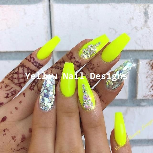 23 Great Yellow Nail Art Designs 2019 1 With Images Neon Nail