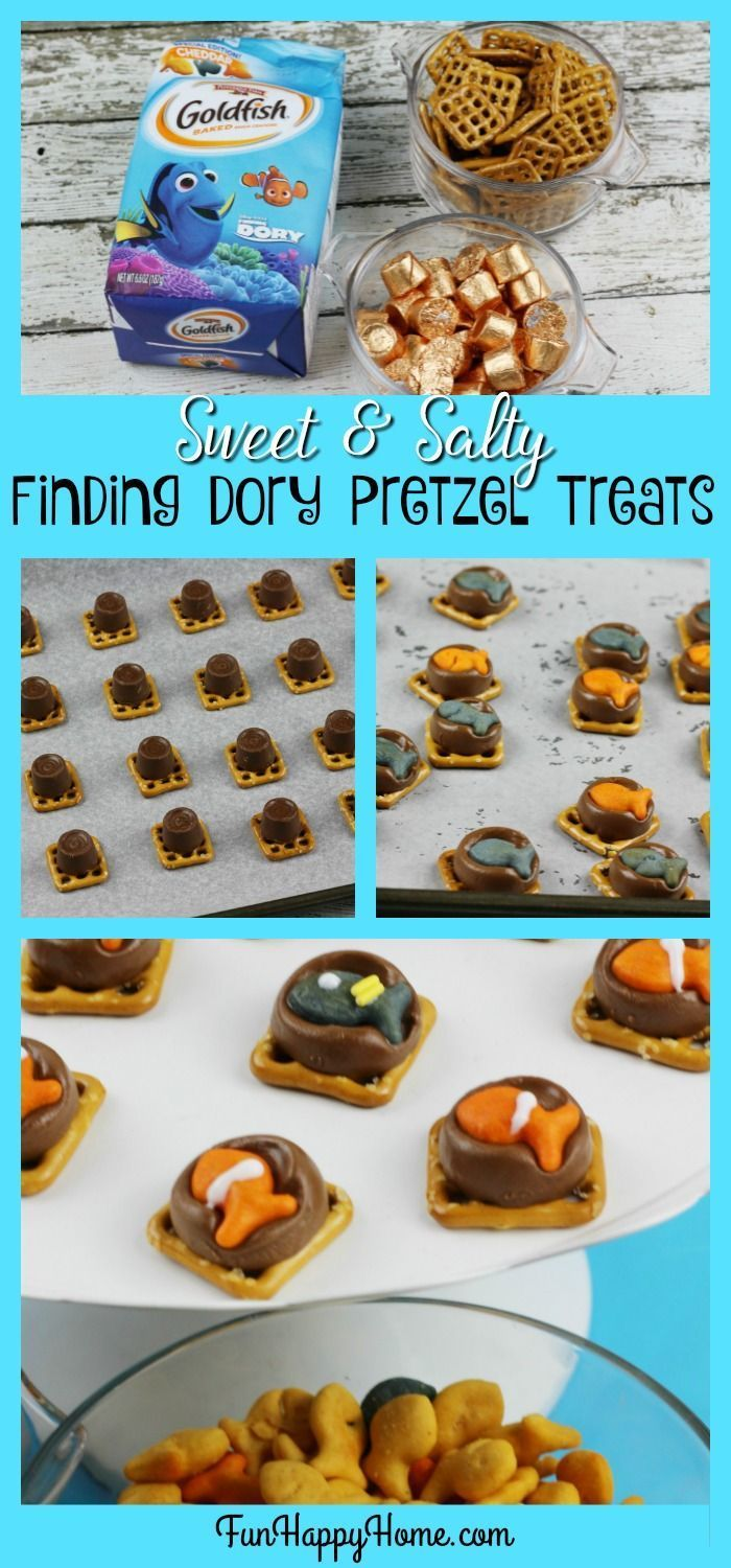 Sweet & Salty Finding Dory Pretzel Treats from FunHappyHome.com  These treats are so easy to make and are perfect for a Nemo or Dory themed party! #FindingDory #FindingNemo