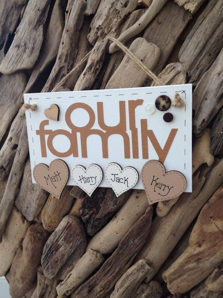 Our Family Plaque Sign Handmade Personalised Hearts for Names
