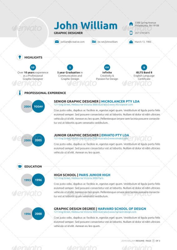 Best Creative Infographic Resume Templates Images On