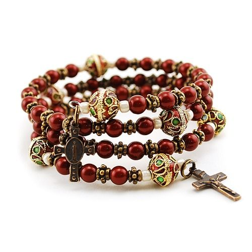 Swarovski Pearls Maroon Rosary Bracelet - a readily available rosary to pray whenever you need it