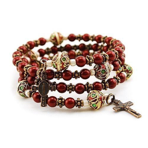 Swarovski Pearls Maroon Rosary Bracelet - Beautiful!!