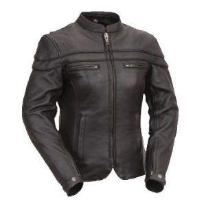 Australian-Bikers-Gear-Sturgis-Tour-Mujer-de-moto-chaqueta-de-piel-Protectores-0