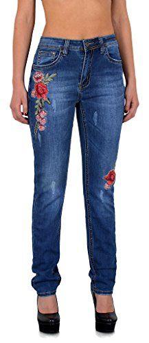 9b9caaf8bef343 ESRA Damen Jeans High Waist Jeanshose Straight Leg Hochbund Hosen bis  Übergröße 52 54 56#