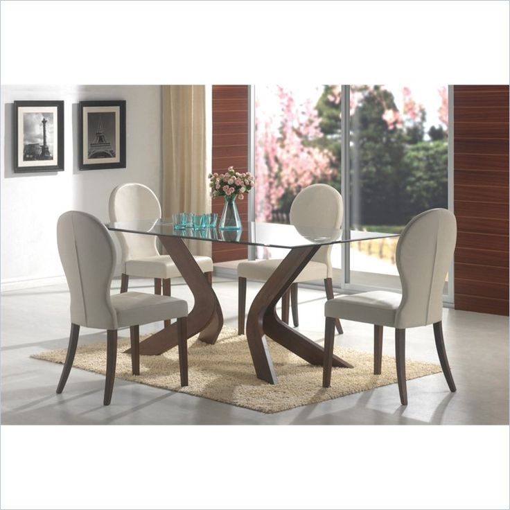 Lowest price online on all Coaster San Vicente Glass Top Rectangular Dining Table in Walnut - 120361