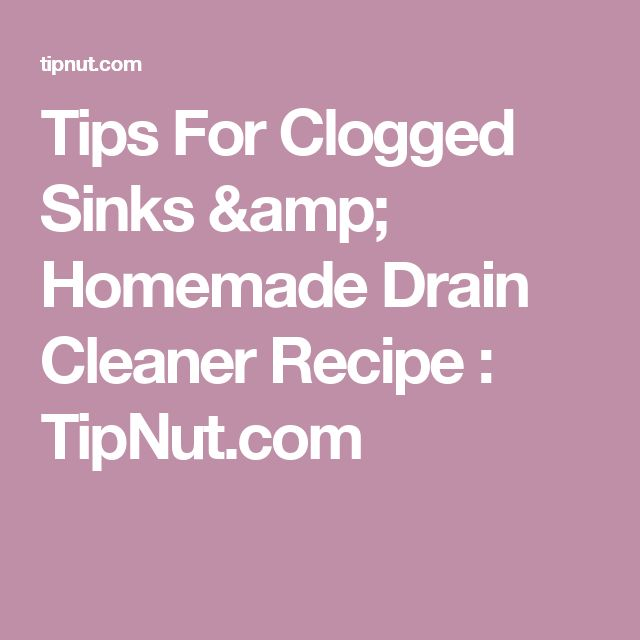 Apartment Kitchen Sink Clogged: 1000+ Ideas About Homemade Drain Cleaner On Pinterest