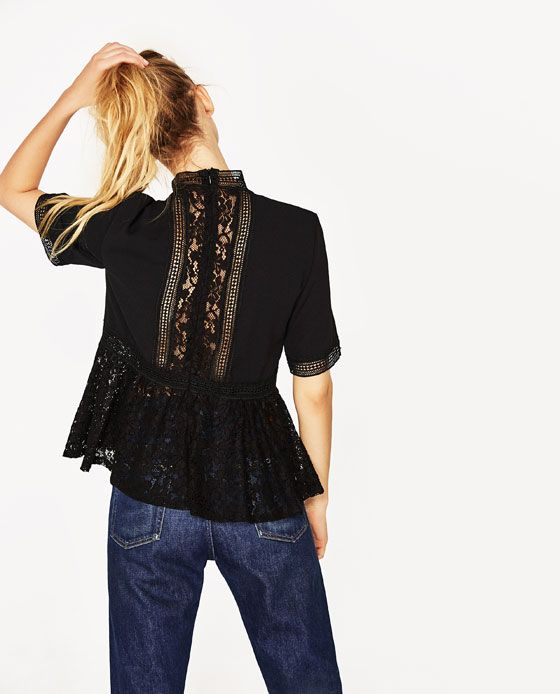 Image 3 of CONTRAST LACE TOP from Zara