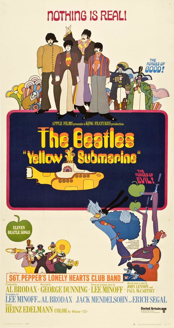 Image result for yellow submarine 1968 original poster