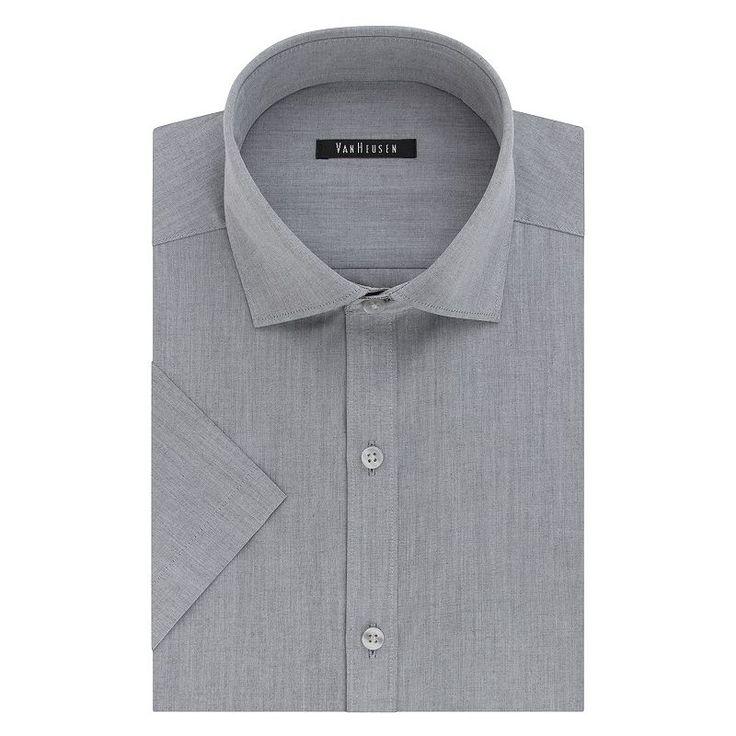 Men's Van Heusen Fresh Defense Slim-Fit Dress Shirt, Size: Xl 17.5-18, Grey Other