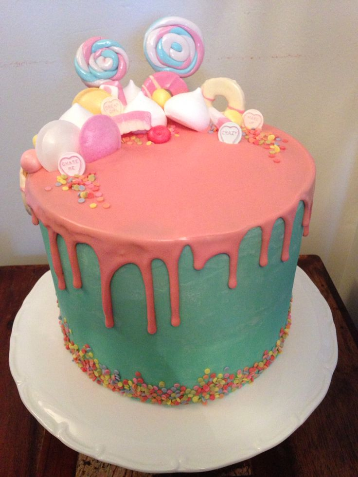 Colourful drippy cake! Chocolate biscuit cake covered in turquoise coloured white chocolate ganache with a pink white chocolate ganache drip & a selection of sweets on top  Made for my beautiful niece, Chloe's, confirmation.