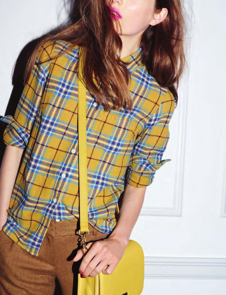 that flannel shirt with the boyfriend british tan pants AND a yellow purse!!! | J.Crew October 2012