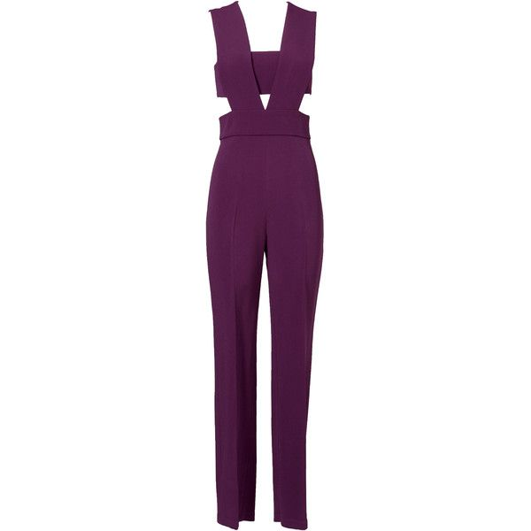 Rental Cushnie Et Ochs Plum Jumpsuit ($250) ❤ liked on Polyvore featuring jumpsuits, jumpsuit, dresses, purple, v neck jumpsuit, sleeveless jumpsuit, jump suit, jumpsuits & rompers y purple jumpsuit