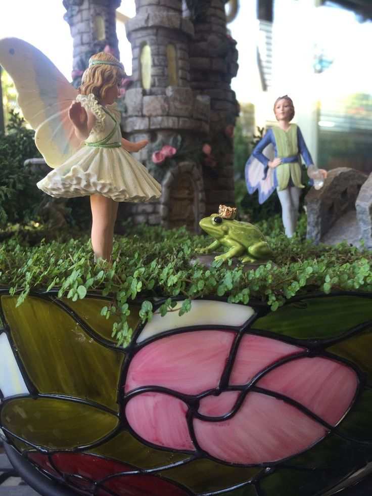 Miniature Fairy Garden - LOVE TRIANGLE is potted in a Tiffany style lamp shade…