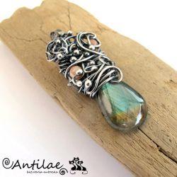 Labradryt, kamień słoneczny, srebro, biżuteria - Antilae - biżuteria autorska