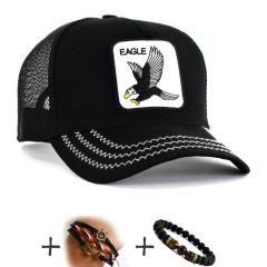 Siyah Renk EAGLE CAP Kartal Şapka Fileli Cap Erkek Bayan