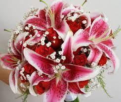 Buquê de Lírios Stargazer, Rosas Vermelhas (eu preferiria se fossem cor vinho) e gipsofilas.