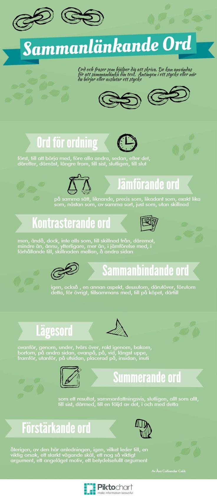 Sammanlänkande ord - bra att ha till hjälp för framför allt andraspråkselever…