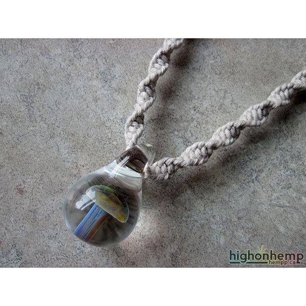 Mushroom Necklace, Lampwork Necklace, Glass Mushroom Pendant, Hemp... ($20) ❤ liked on Polyvore featuring jewelry, necklaces, pendant jewelry, pendant necklace, glass pendant jewelry, hemp necklace and hemp jewelry