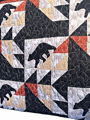 Patchwork Black Bear Rustic Lodge Twin Full/Queen or King Size Quilt Set