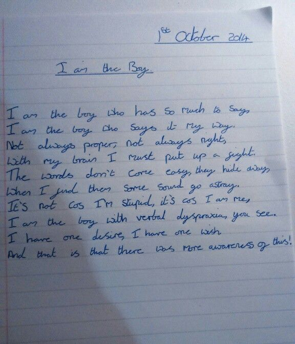 Mikey 39 S Poem About Living With Verbal Dyspraxia