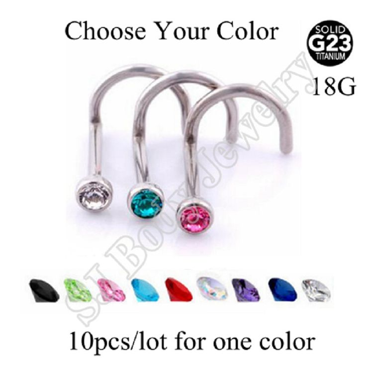 SwanJo 10 pcs/lot G23 Titanium Nose Screw With Flat Clear Gem piercing nariz Body Piercing Jewelry piercing Pircing Nose Ombligo
