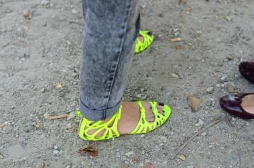 Neon Flats: Miumiu, Yellow Flats, Black Nails, Neon Sandals, Miu Miu, Christian Louboutin, Flats Sandals, Neon Shoes, Neon Yellow