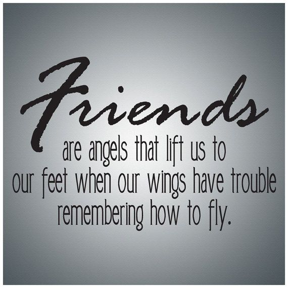 Family Friends Wall Decal Art - Friends are angels....Wall Quote Decal Vinyl Lettering Saying - FR003