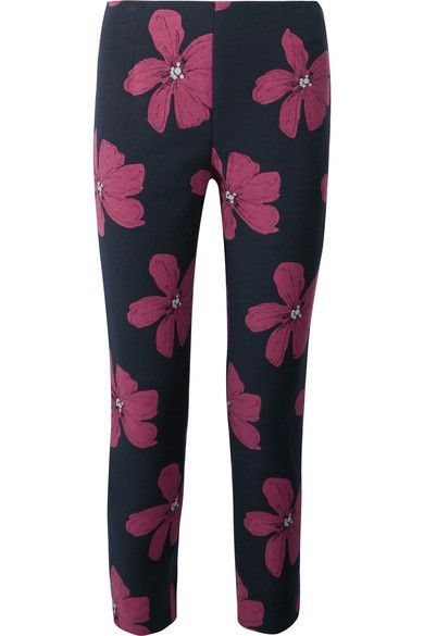 Lela Rose - Cropped Cotton-blend Floral-jacquard Slim-leg Pants - Midnight blue - US10