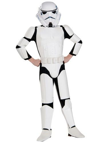 Child deluxe Stormtrooper costume is the kids version of the Imperial Stormtrooper. This kids Star Wars Stormtrooper costume comes with a helmet and belt.