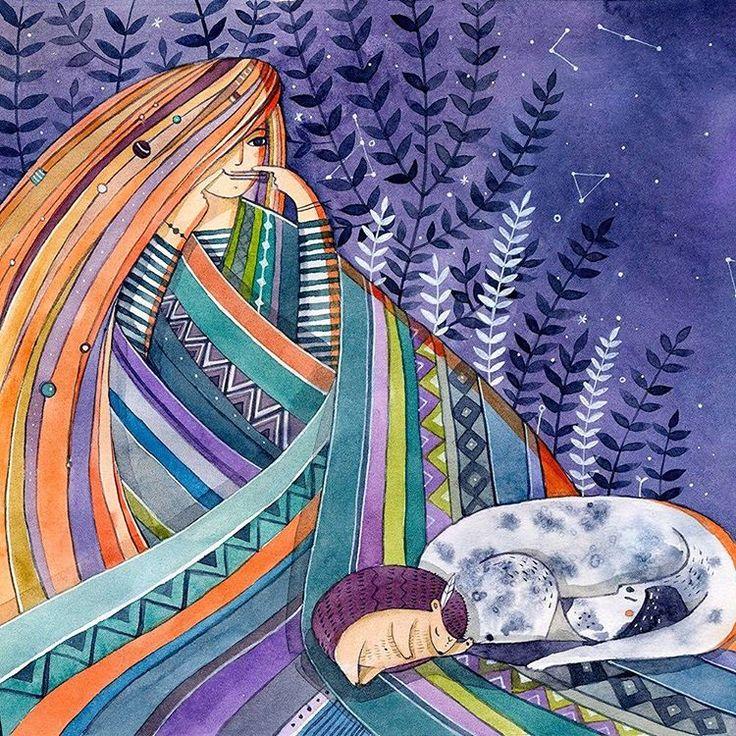 Одна из иллюстраций для сказки Дом Меганом @dom_meganom @shamil.kris #dom_meganom #illustration #illustrator #behance #violet #girl #hippie #watercolor #love #dog #Hedgehog #night #mystic #harp #иллюстрация #акварель #gypsy #ночь #хиппи  #плед #ёж #пёс #детицветов #варган