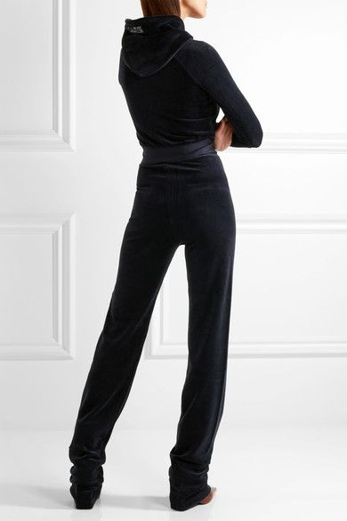 Vetements - Juicy Couture Embroidered Cotton-blend Velvet Tracksuit - Midnight blue - x small