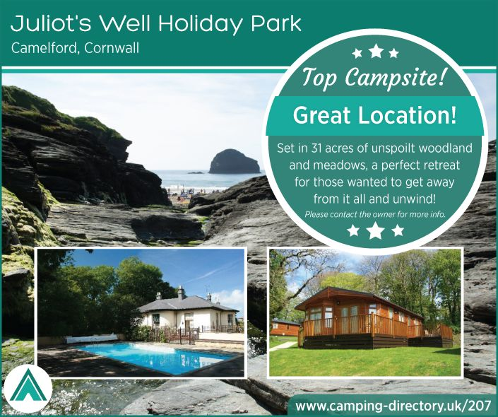 Juliots Well Holiday Park, Camelford, Cornwall, England. Camping. Campsite. Touring Holiday Park. Beach. Sea. Swimming Pool. Holiday. Travel. UK.