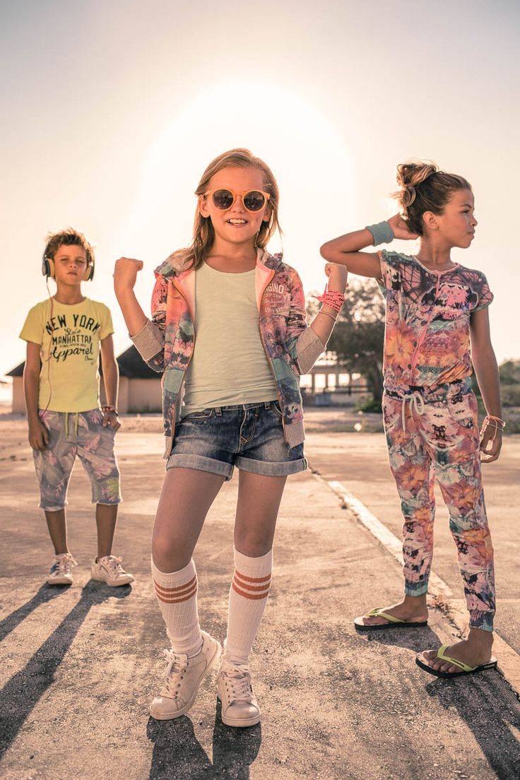 Boy // Sweat Short: Rayno I Top: Horus.  Girls // (L) Denim Short: Dalima I Singlet: Gina. (R) Jumpsuit: Piola