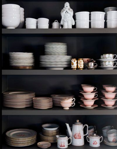 black shelves kitchen