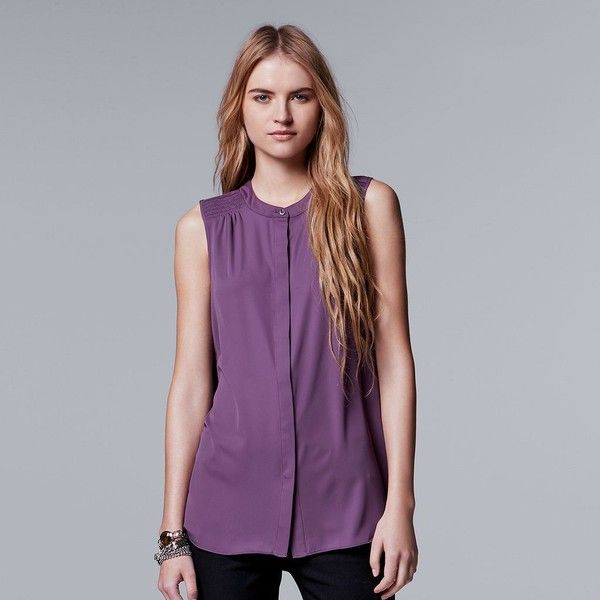 Petite Simply Vera Vera Wang Smocked-Shoulder Sleeveless Shirt ($26) ❤ liked on Polyvore featuring tops, petite, purple, button front top, purple chiffon top, petite blouses, smocked top and smock blouse