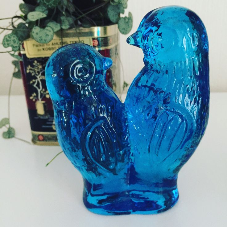 Love birds figurines/Swedish/glass/blue/birds/sculpture/signed by WifinpoofVintage on Etsy