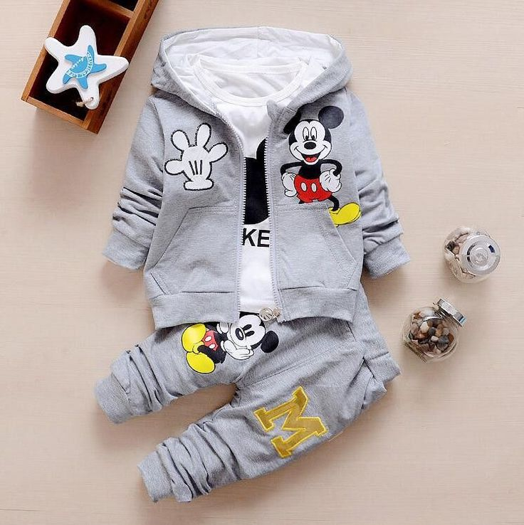Unisex Clothing Set for Kids with Mickey Mouse Cartoon Characters Print (3pcs) for 9M-4T - More Choices Available